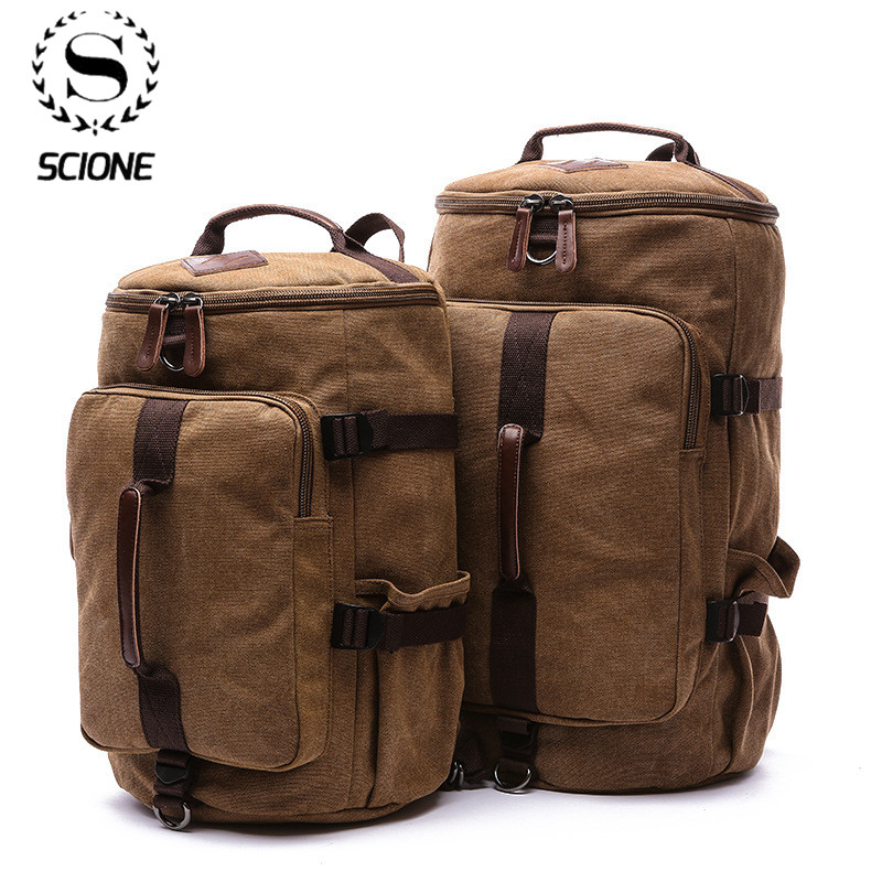 Scione Large Capacity Man Travel Bag Mountaineering Backpack Male Bags Canvas Bucket Shoulder Backpack Carry On Luggage Bag