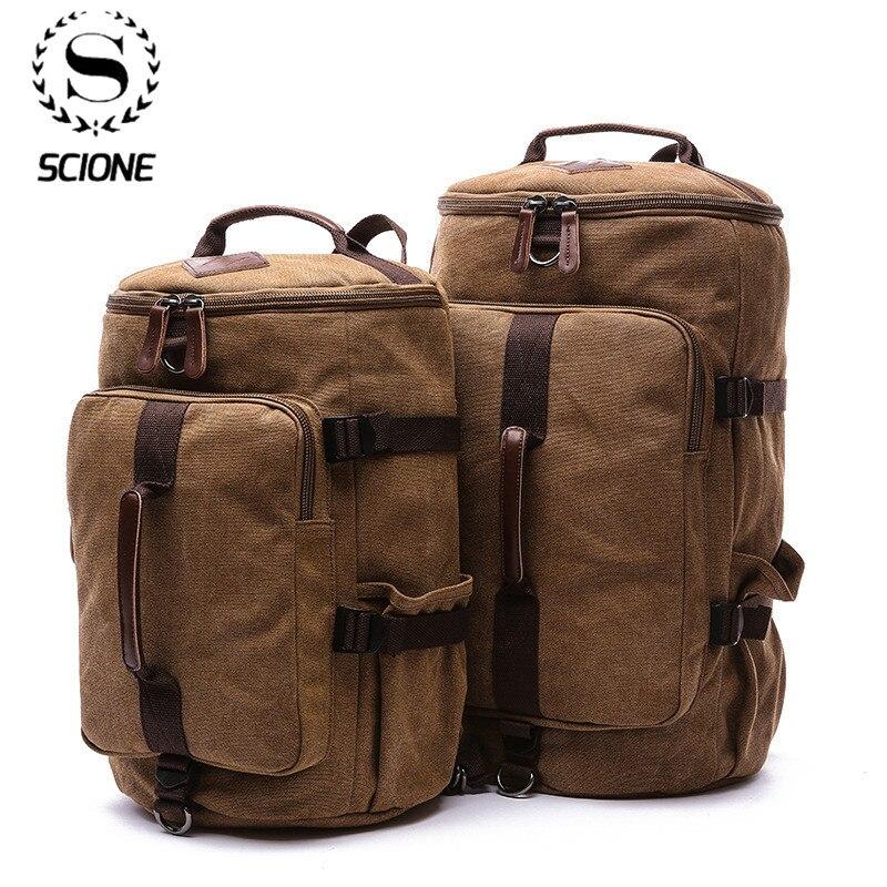 Где купить Scione Большая вместительная мужская дорожная сумка, рюкзак для альпинизма, мужские сумки, холщовый рюкзак на плечо, сумка для ручной клади