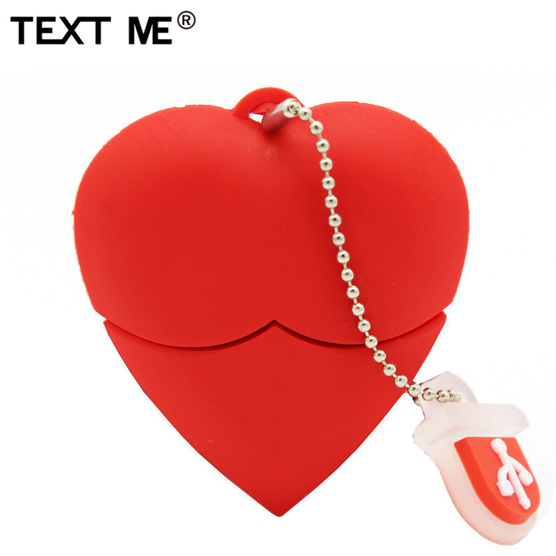 TEXT ME Cartoon Red Heart Model Usb2.0 4GB 8GB 16GB 32GB 64GB Pen Drive USB Flash Drive Creative Gifty Give