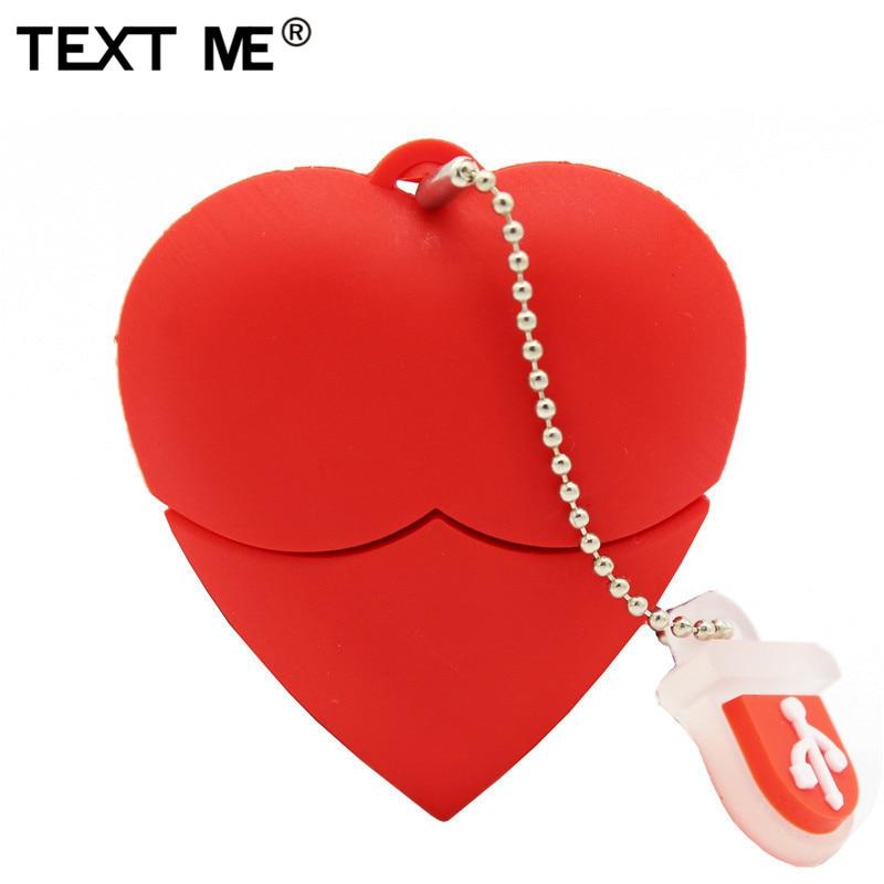 TEXT ME Cartoon Red Heart Model Usb2.0 4GB 8GB 16GB 32GB 64GB Pen Drive USB Flash Drive Creative Gifty Give
