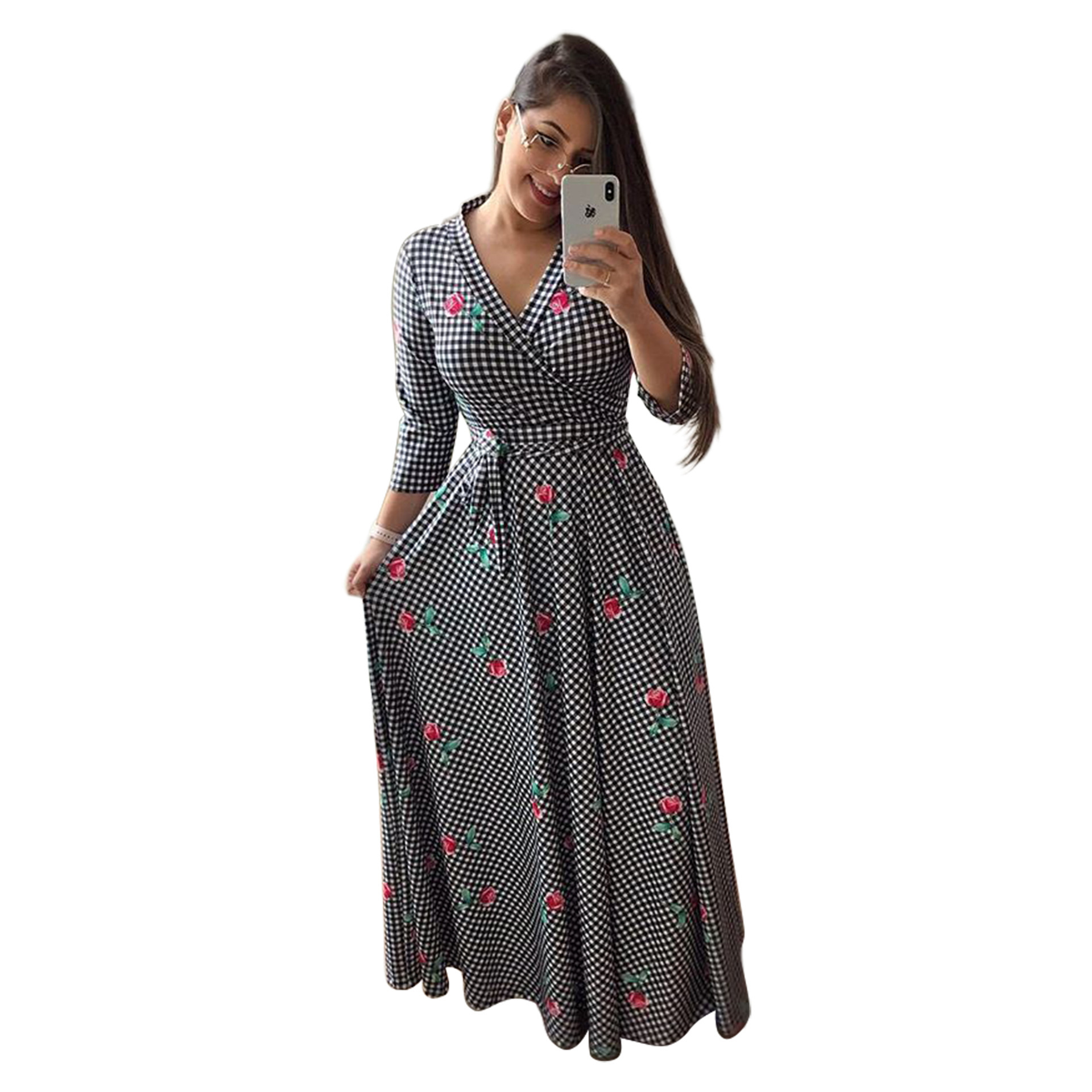 H66fd783307744435b84e799944097d8cg - Oufisun Spring Sexy Deep V Neck Women's Dress Bohemia Tunic Maxi Dresses Elegant Vintage Flowers Print Dress Vestidos Plus Size