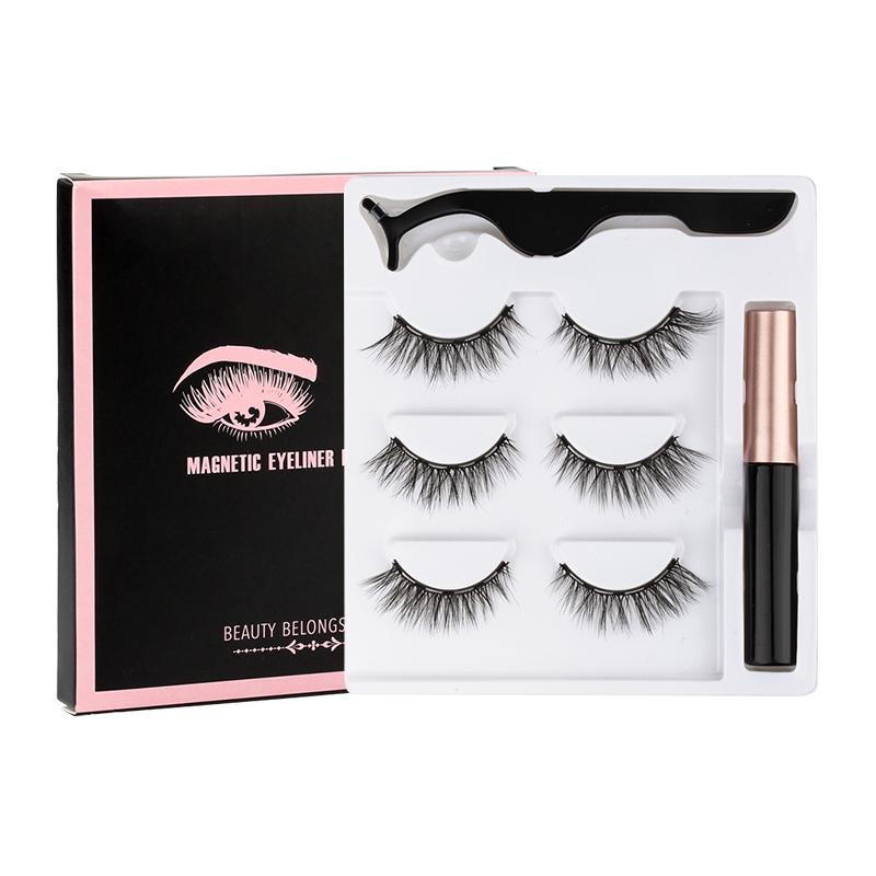 3 Pairs Magnetic Eyelashes 3D Mink Eyelashes Makeup Magnetic Lashes Eyeliner Tweezers Set Natural False Lashes Short Faux Cils