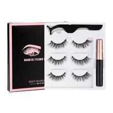 Ensemble de faux-cils magnétiques 3D en vison, maquillage, Eyeliner, pincettes, Faux Cils naturels courts, 3 paires