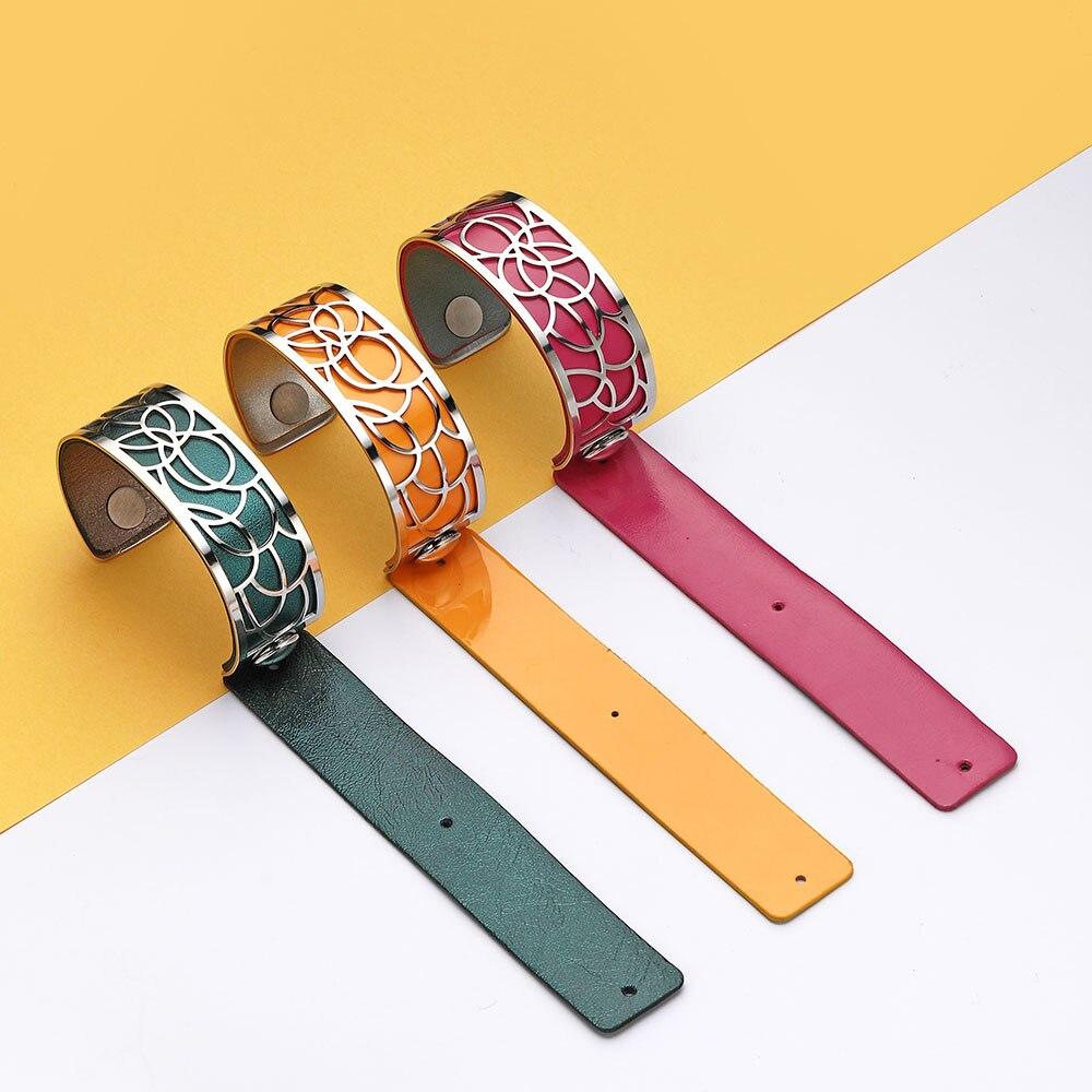 Legenstar acier inoxydable Argent Georgette Bracelets Bracelets pour femmes Manchette Manchette réversible Bracelet en cuir 2019