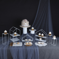 Cupcake Stand Dessert Frame Geometric Line Wrought Iron Cake Display Stand Dessert Rack Cake Plate Marble Tray Home Decoration|Home Office Storage| |  -