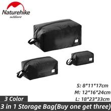Naturehike Travel Storage Bag 3 in 1 Clothes Waterproof Bag Foldable Pouch 4-Season Travel Multi-function Baggage Sorting Bag