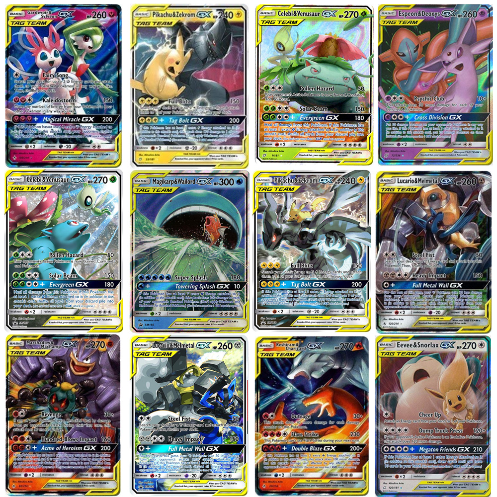 TOMY 200 PCS GX Pokemon TAG TEAM Card Lot Featuring 80tag Team 20mega 20 Ultra Beast Gx