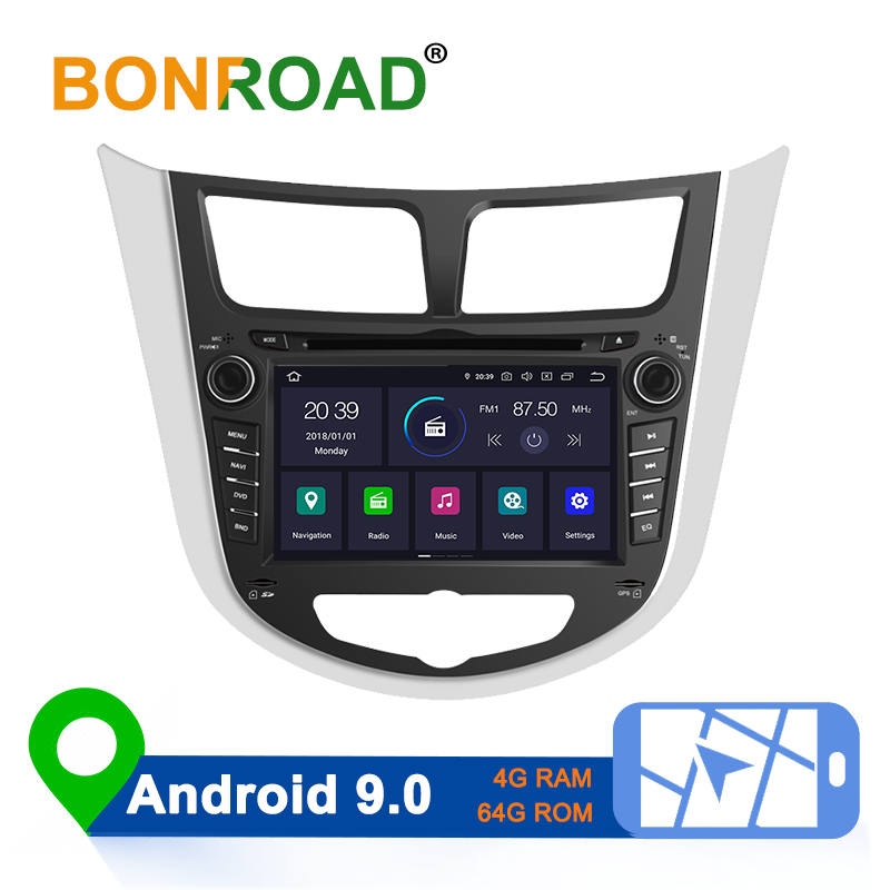Bonroad Android 8.1/9,0 Auto Multimedia-Player Auto DVD Für <font><b>Hyundai</b></font> <font><b>Solaris</b></font> Verna Accent 2010-2016 Auto GPS <font><b>Radio</b></font> video Navigation image