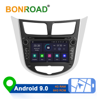 Bonroad Android 8.1/9.0 Car Multimedia Player Car DVD For Hyundai Solaris Verna Accent 2010 2016 Car GPS Radio Video Navigation