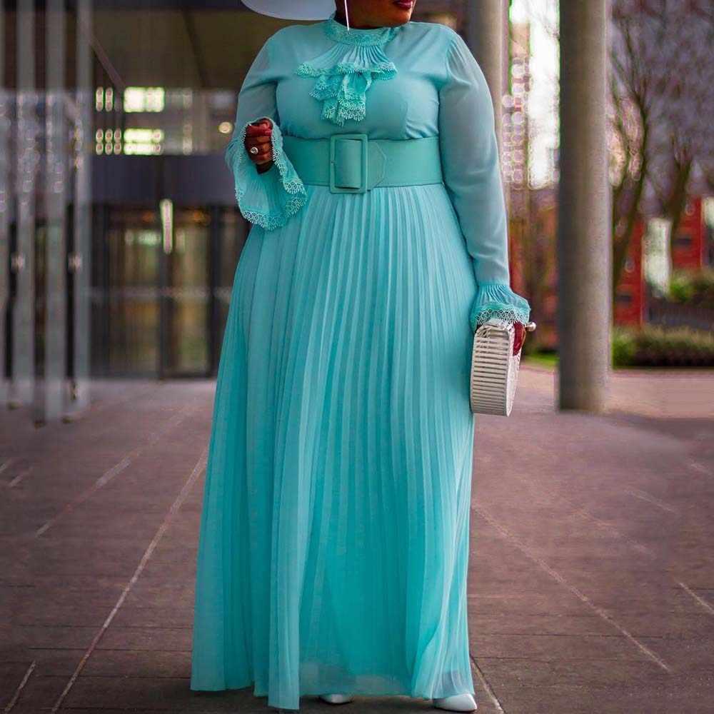 プラスサイズの秋長袖マキシプリーツドレス女性アフリカの女性大ビッグサイズのウェディングイブニングパーティーロングドレスヴィンテージ