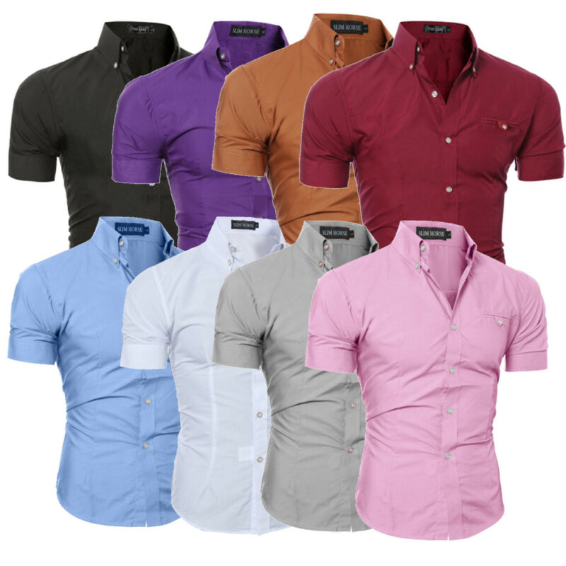 New Luxury Men's Slim Fit Shirt Short Sleeve Stylish Business Formal Casual Shirt Cotton Tops Summer