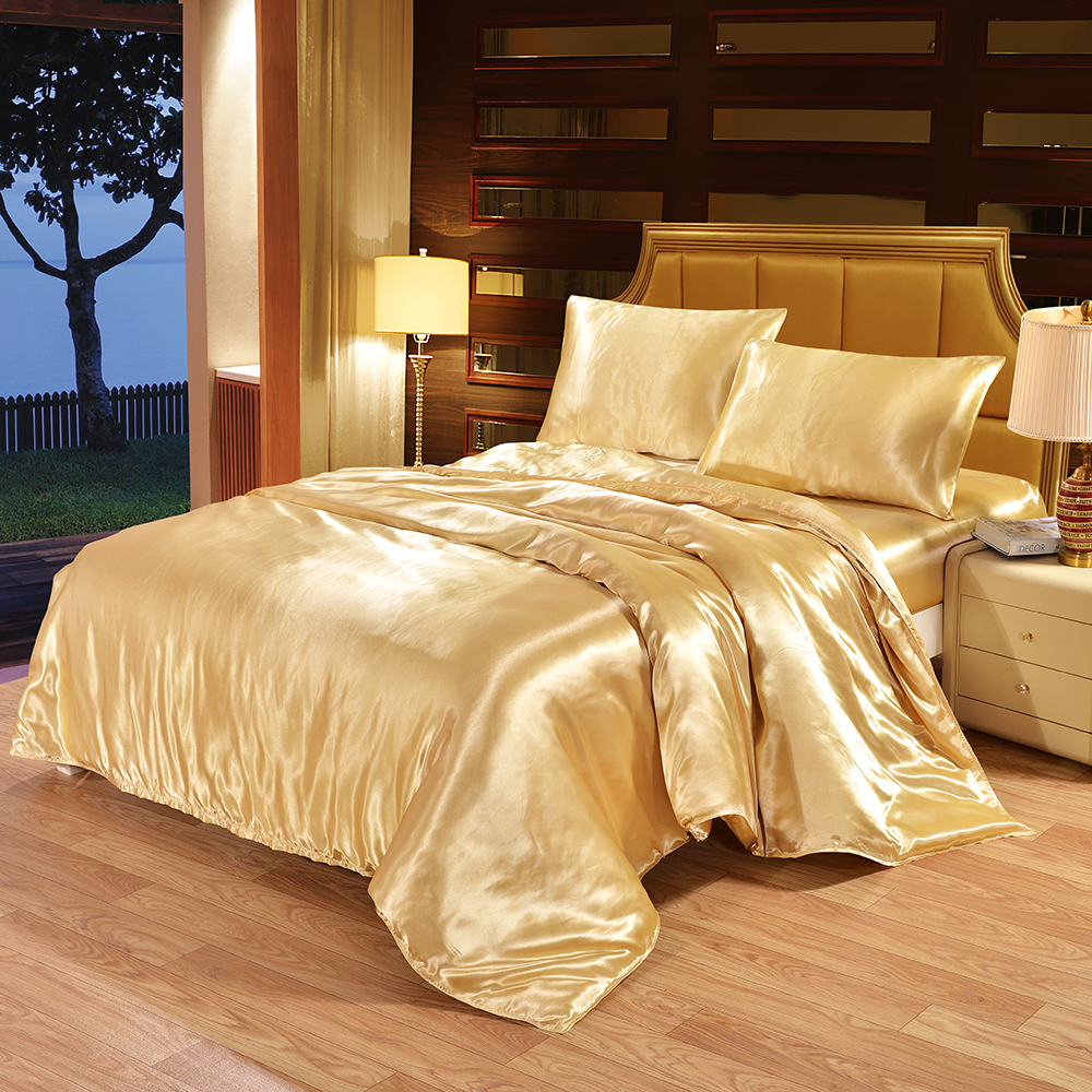 Pillowcase Bedding-Set Quilt Duvet-Cover Linens Satin Silk Queen Double-Bedclothes Single title=