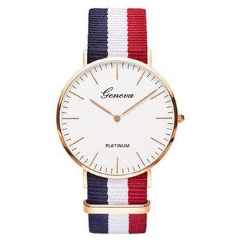 цена на Couple Watch Ultra-Thin Large Dial Nylon Canvas Strap Quartz Wristwatch Men WomenStudent Gift ladies watch Fashion&Casual Reloj
