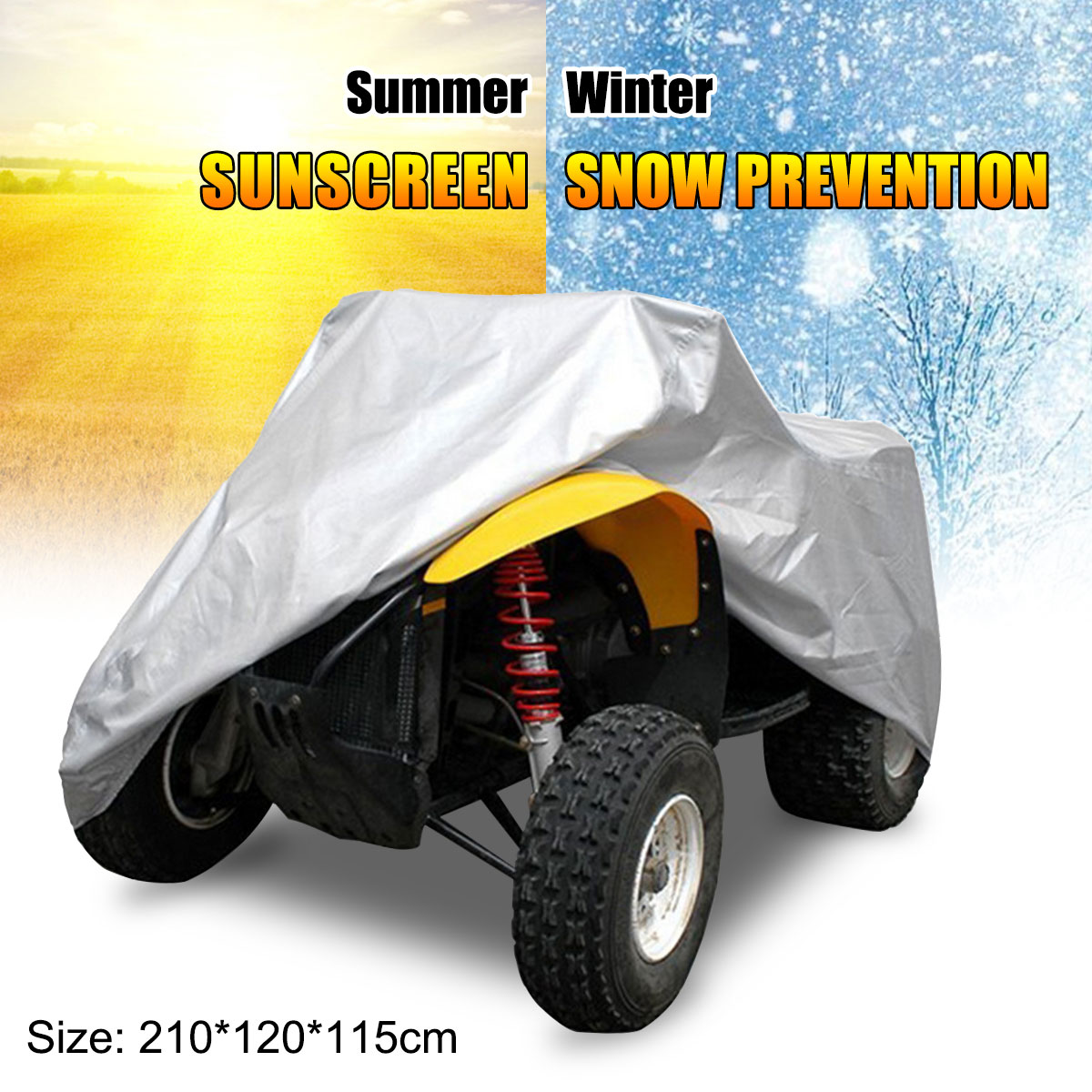 190T Waterproof UV Heatproof Quad Bike Tractor ATV Cover Anti UV Rain Lawn Mower ATV Car Cover + Bag XL Large 210x120x115cm|  - title=