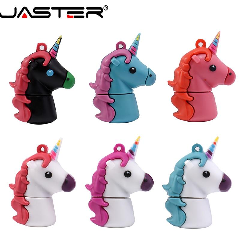 JASTER USB 2.0 Cartoon Cute Unicorn Usb Pendrive 4GB 8GB 16GB 64gb Pen Drive Usb Flash Drive Clef Memoria Usb 32GB As Toy Gift