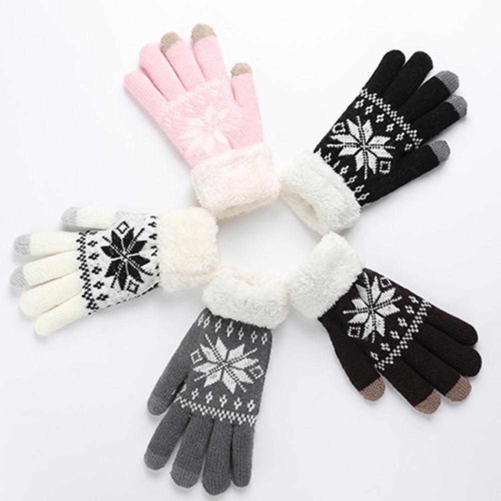 Winter Women Knitted Gloves Christmas Deer Fashion Full Finger Mittens Female Soft Christmas Pattern Screen Knit Gloves