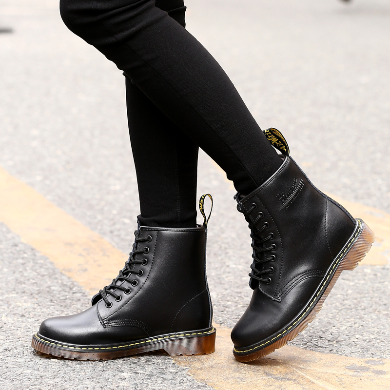 Marten Boots Women Genuine Leather Ankle Boots Doc 8 Eye Autumn Winter Female Motorcycle Boots Shoes Fashion Lace up Couple Boot