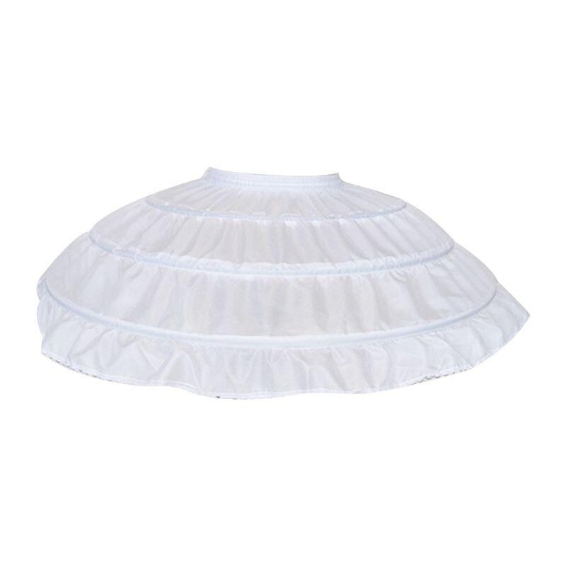 Children Girls 3 Steel Hoops White Petticoat Wedding Gown Dress Underskirt Elastic Waistband Drawstring A-Line Skirt Ruffles Edg