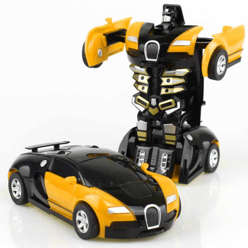 새로운 한 키 변형 자동차 장난감 자동 변환 로봇 플라스틱 모델 자동차 재미 있은 다이 캐스트 장난감 소년 놀라운 선물 아이 장난감