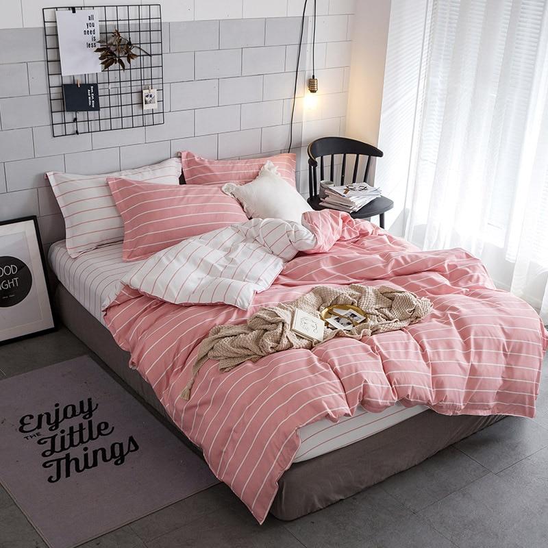 2/3pcs Modern Simple Pink Blue Stripes Bed Linen Duvet Cover Pillowcases Queen King Size Bedding Set No Filling No Bed Sheet