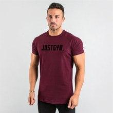 Marka męska koszulka Fitness Slim dopasowane koszule z krótkim rękawem bawełniana koszulka na siłownię ubrania do ćwiczeń moda O-Neck drukowany napis lato Teeshirt