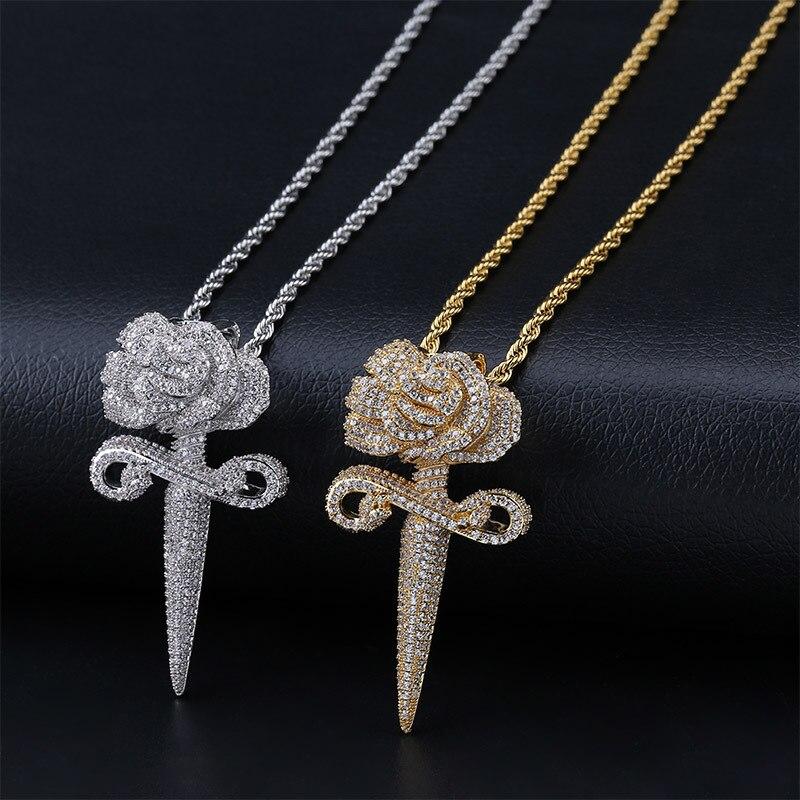 AAA + кубический цирконий вымощенные Bling Ice Out розы бутон подвески кинжалы ожерелья для мужчин и женщин хип хоп рэппер ювелирные изделия