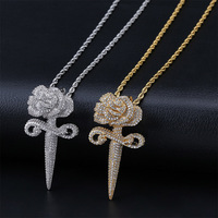 AAA+ Cubic Zirconia Paved Bling Ice Out Rose Flower Bud Dagger Pendants Necklaces for Men Women Hip Hop Rapper Jewelry