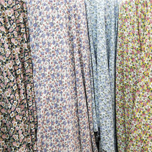 Chiffon Small Flower Print Non Stretchy Fabric Trousers Skirt Dress Material Fabric