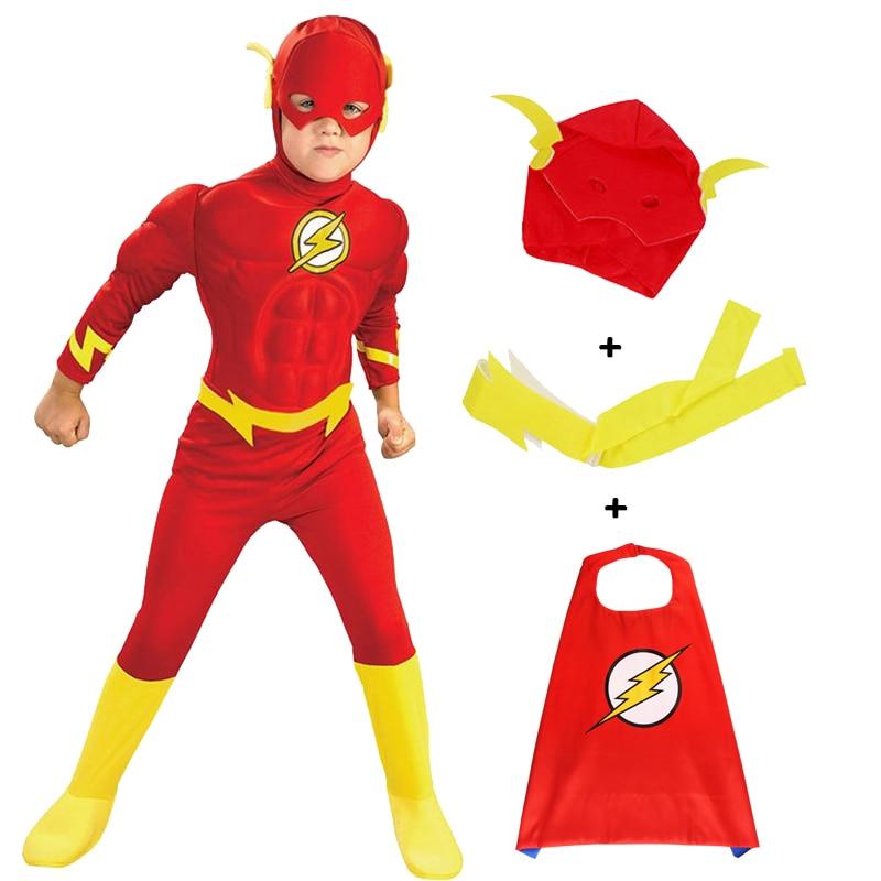 Halloween Kids Clothes Flash Cosplay Costume Superhero Barry Allen Zentai Bodysuit Children's Set Jumpsuit
