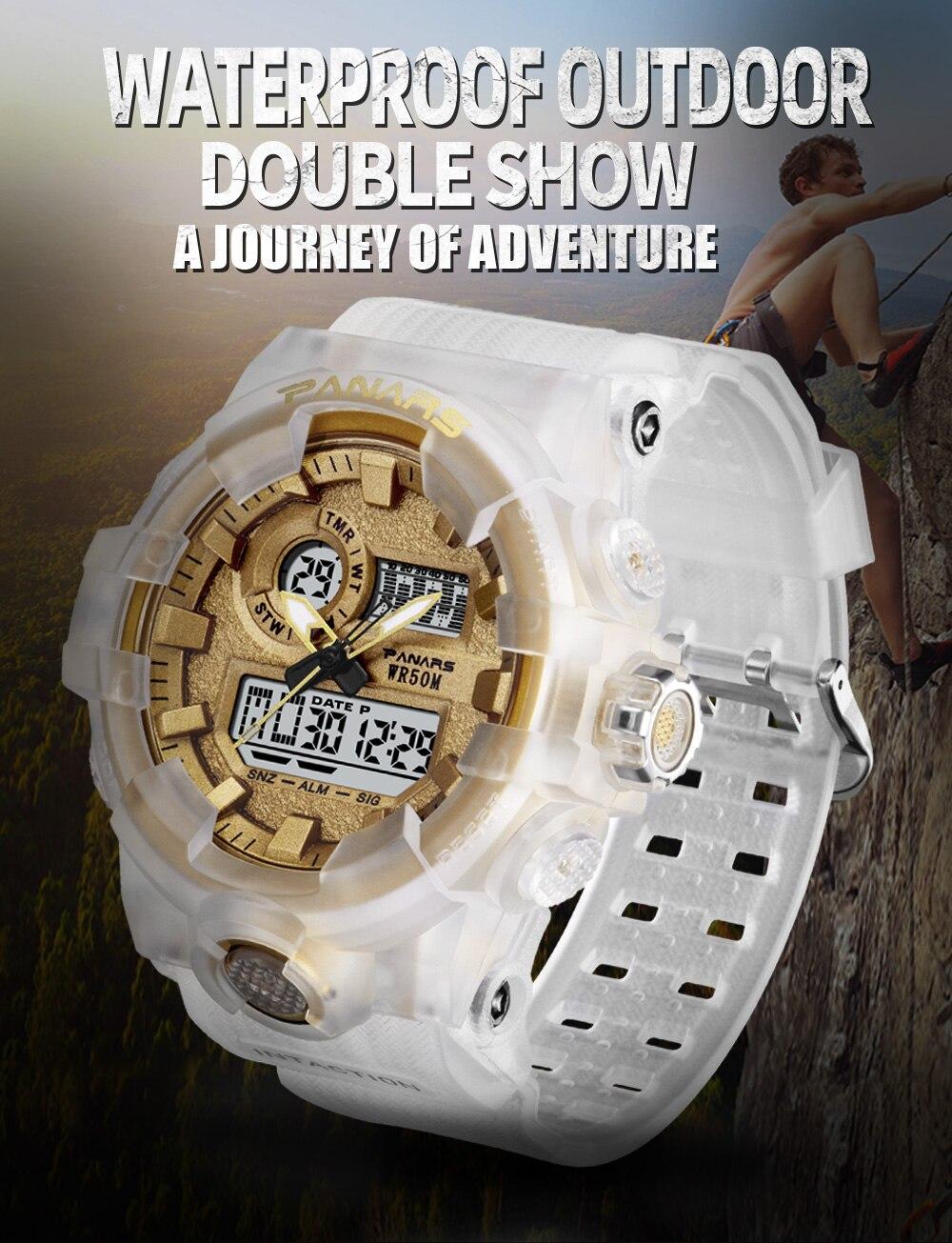 prova ddouble água dupla exibição choque resistente relógio