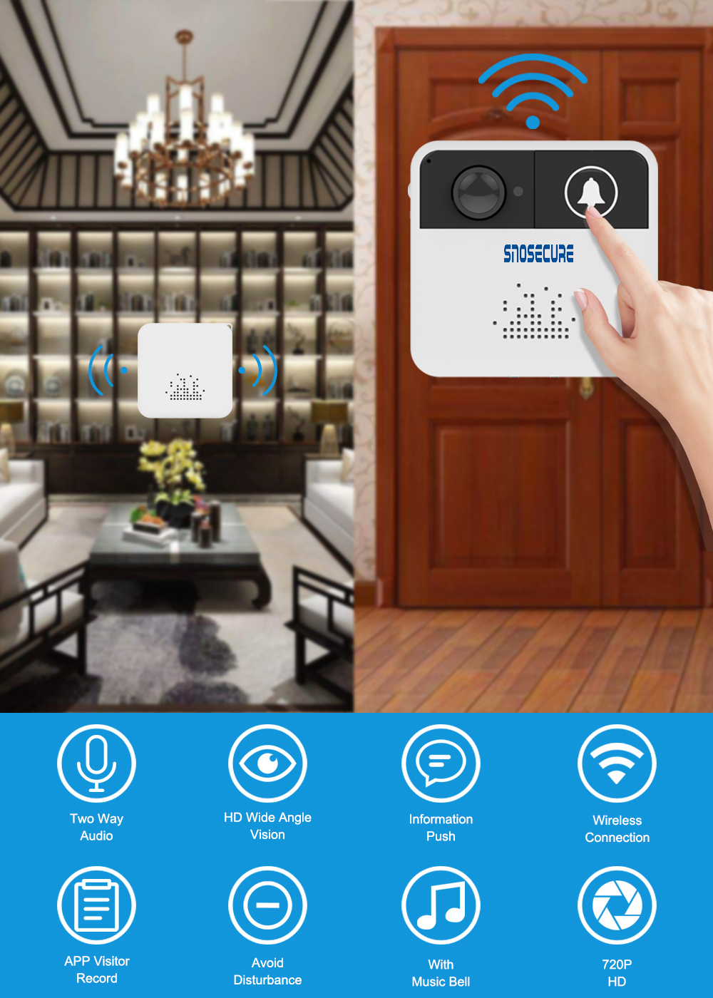SNOSECURE Smart Vedio WiFi Doorbell Camera HD 720P Wireless Doorbell with chime Two Way Audio Visual Intercom Security Camera