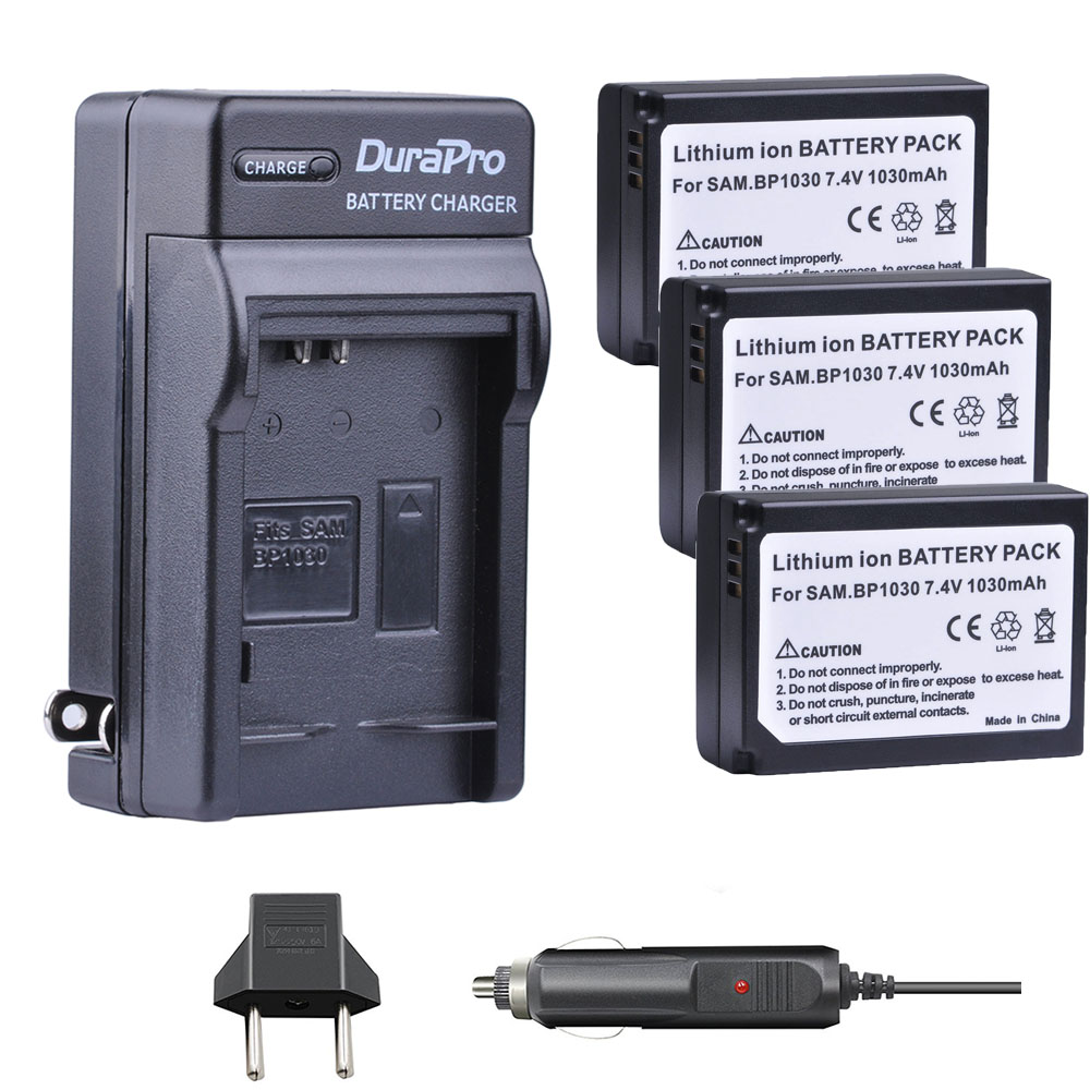 3pc 1030mAH BP-1030 BP 1030 Rechargeable Camera Battery + Car <font><b>Charger</b></font> For <font><b>Samsung</b></font> NX200 NX210 NX300 NX500 <font><b>NX1000</b></font> NX1100 NX-300M image
