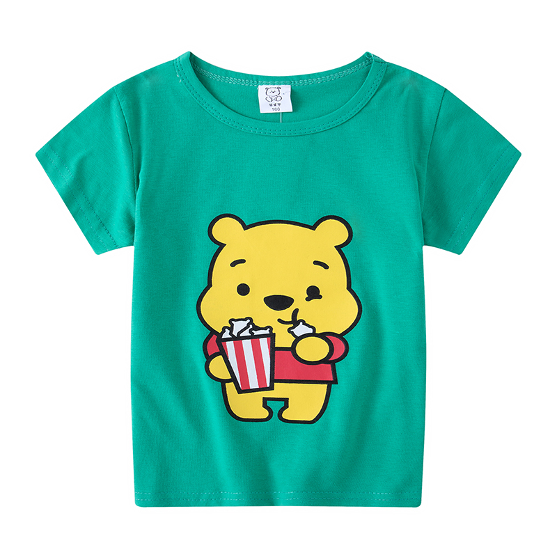 Casual Fashion Summer Toddler Baby Boys Cotton Style Short Sleeve O-Neck Pullover Cartoon Print T-Shirts Christmas Clothing