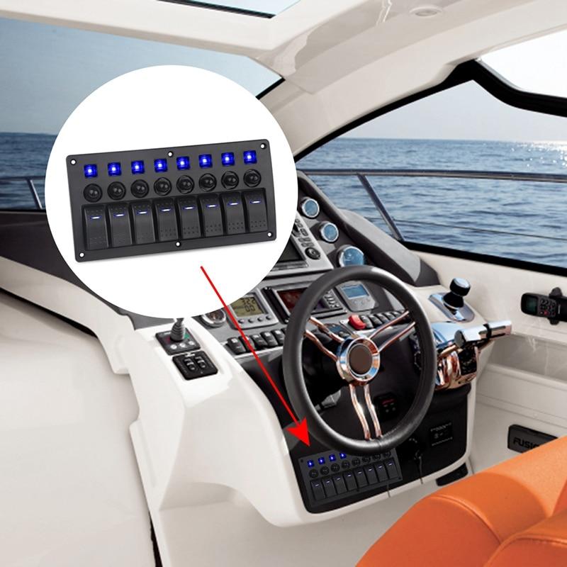8 Gang commutateur panneau voiture style étanche 12V voiture Auto bateau Marine rouge Led interrupteur à bascule panneau disjoncteurs avec fusible bleu