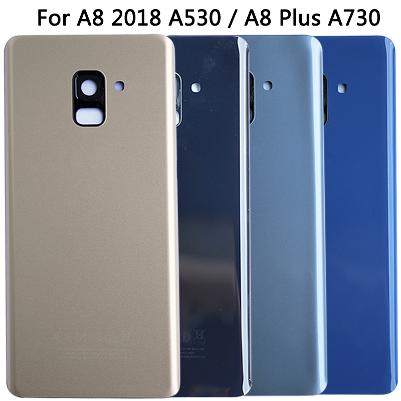 For SAMSUNG Galaxy A8 2018 A530 / A8 Plus A730 Back Cover Rear Housing Case With Camera Lens Frame A730 A530 Battery Cover