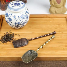 1Pc Chinese Tea Spoons Copper Tea Scoop Spoon Tea Leaves Chooser Holder Chinese Kongfu Tea Tools Accessories(China)