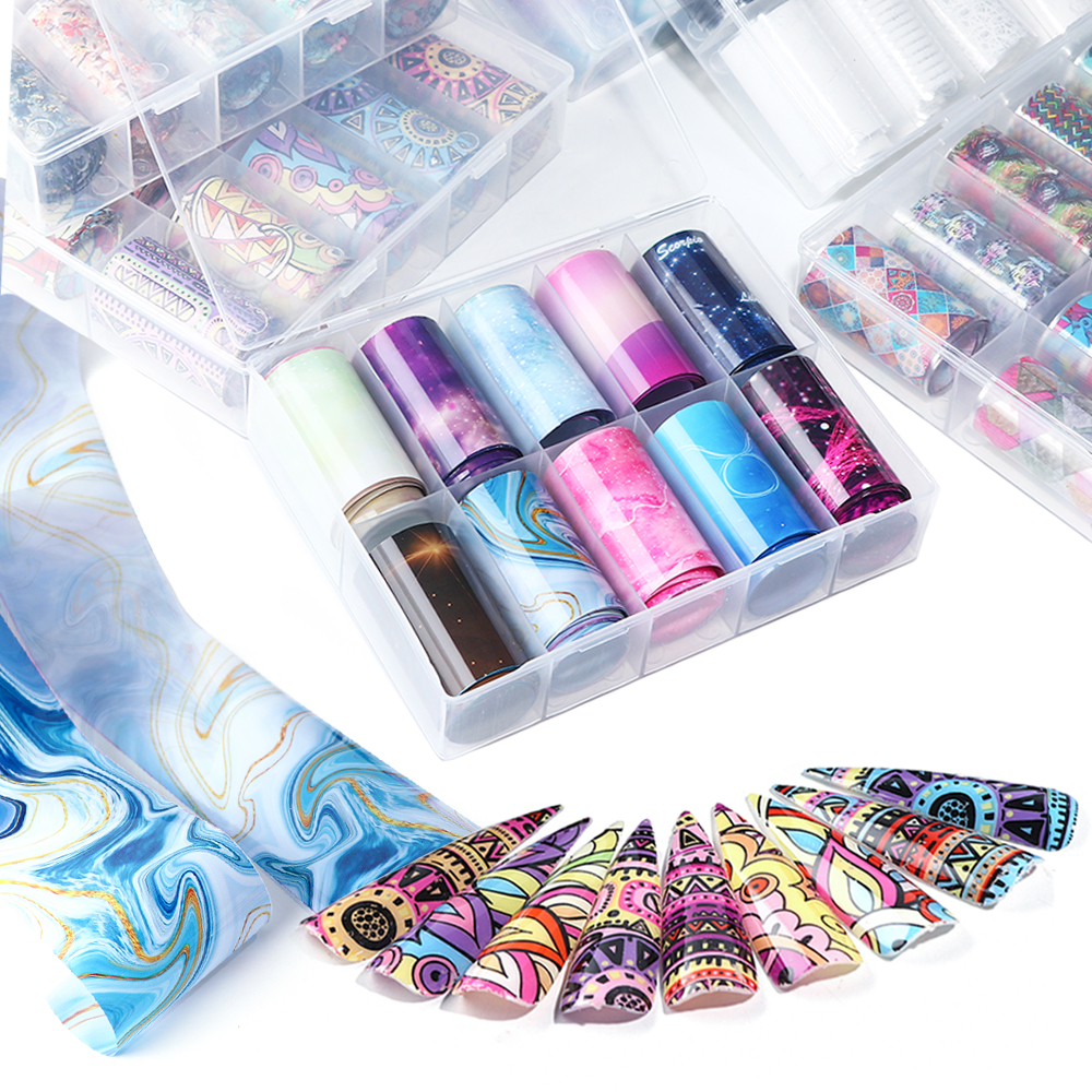 10 Rolls Transparent Nail Art Foil Stickers Starry Sky UV Gel Transfer Wraps Nail Adhesive Decals Nail Decoration Manicure 1