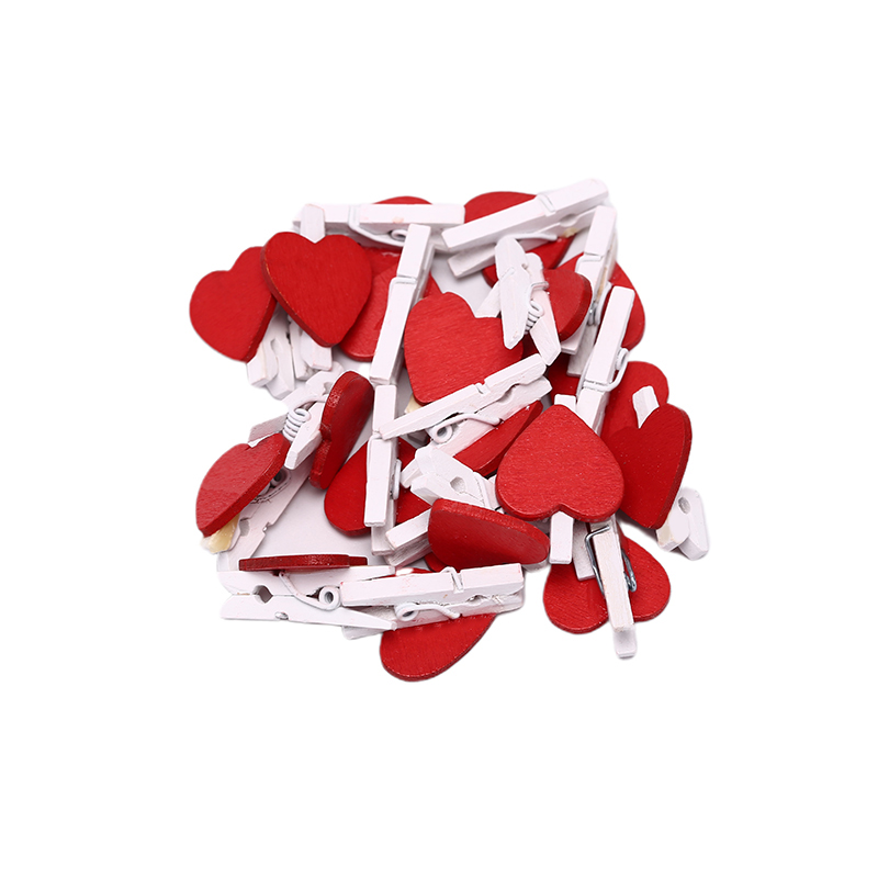 20Pcs Cute Mini Red Heart Shaped Wooden Photo Paper Clips Memo Holder Home Decoration Clips Office Accessories
