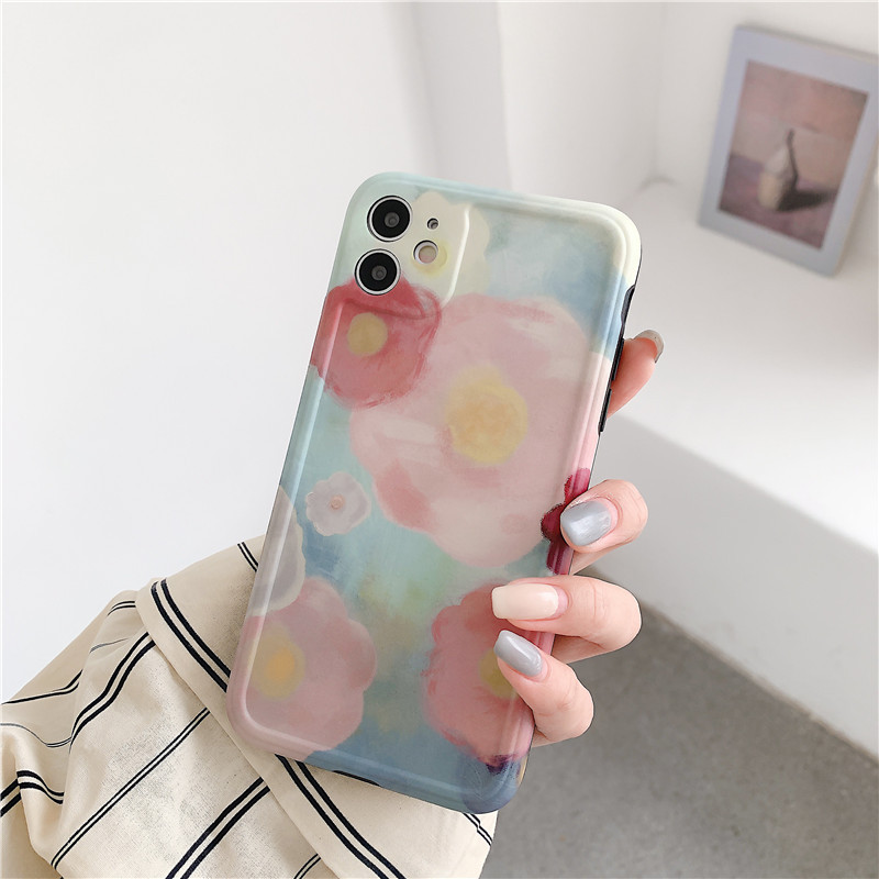 INS Art Retro Oil Painting Rose Flower Phone Case For iPhone 11 Pro Max XR X XS Max 7 7 Puls 7 8 Plus Cases Soft Siliocne Cover