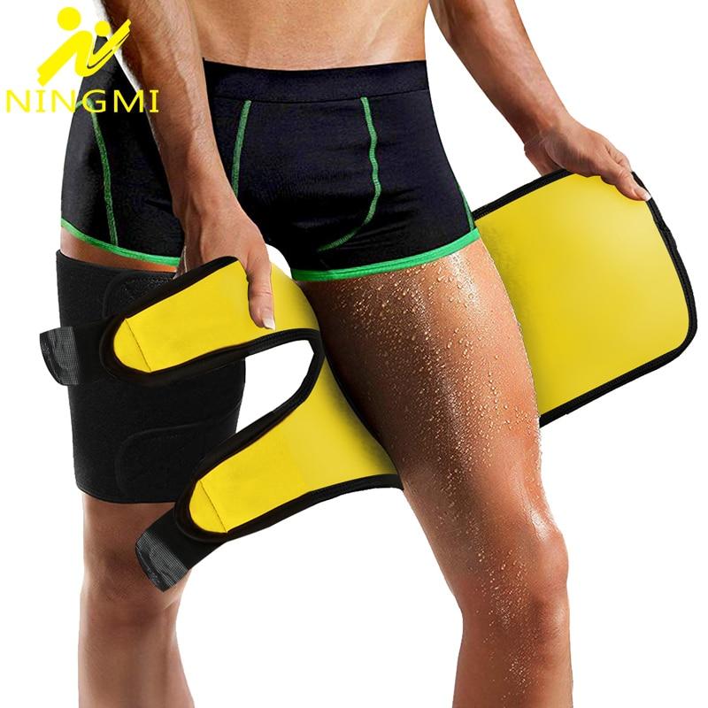NINGMI 2PCS Thigh Trimmer Slimming Leg Shaper For Men Neoprene Belt Wrap Shapewear Thigh Slimmer Body Shaper Trainer Sport Brace