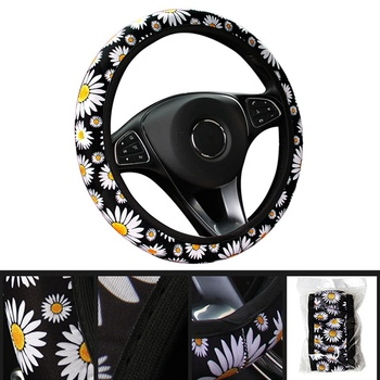 Handle Cover Car Styling Interior Parts Car Auto Flower Style Steering Wheel Cover Vehicle Universal Anti Slip Knitted Steering image