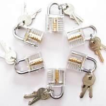 1pc claro cristal transparente cutaway fechaduras dentro de vista prática cadeado visível vista bloqueio treinamento habilidade fechaduras cadeado