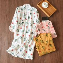 Yukata styl japoński słodkie Kimono rano kardigan szlafrok długa cienka sekcja piżamy koszula nocna kobiet lato domu Roupa tanie tanio UNINICE WOMEN COTTON Pełna T60468 Nightgowns Women s Casual V NECK Trousers Summer Youth Home