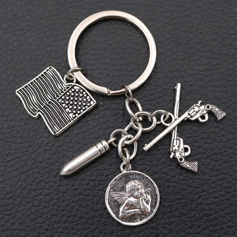 Creative # never again Metal keychain - American Flag Charms Gun & Bullet Thinking Angel Antique Silver K1042 1pcs