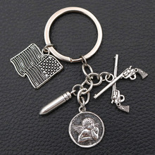 Creative # never again Metal keychain - American Flag Charms Gun & Bullet Charms Thinking Angel Charms Antique Silver K1042 1pcs