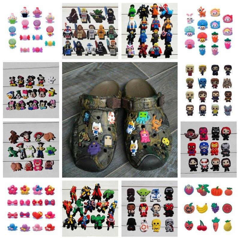 sezamová ulice 12 - 10-12PCS Avengers Crystal Sesame Street Super Mario Star Wars PVC Shoe Charms,Shoes Accessories Fit Bands Bracelets Croc JIBZ