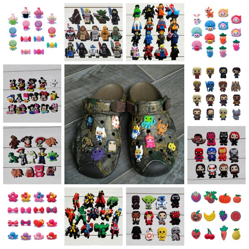 10-12pcs/lot Avengers Sesame Street Super Mario Star Wars PVC Shoe Charms Shoes Accessories Fit Bracelets Croc JIBZ Xmas Gift