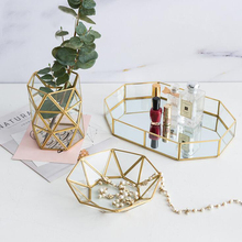 1PCS European Colorful Glass Metal Storage Tray Gold Oval Dotted Fruit Plate Desktop Small Items Jewelry Display Mirror