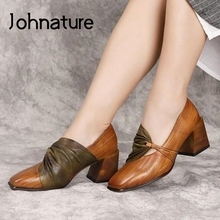 Shoes High-Heels Retro Genuine-Leather Johnature Pumps Women Casual Sewing Handmade Round-Toe