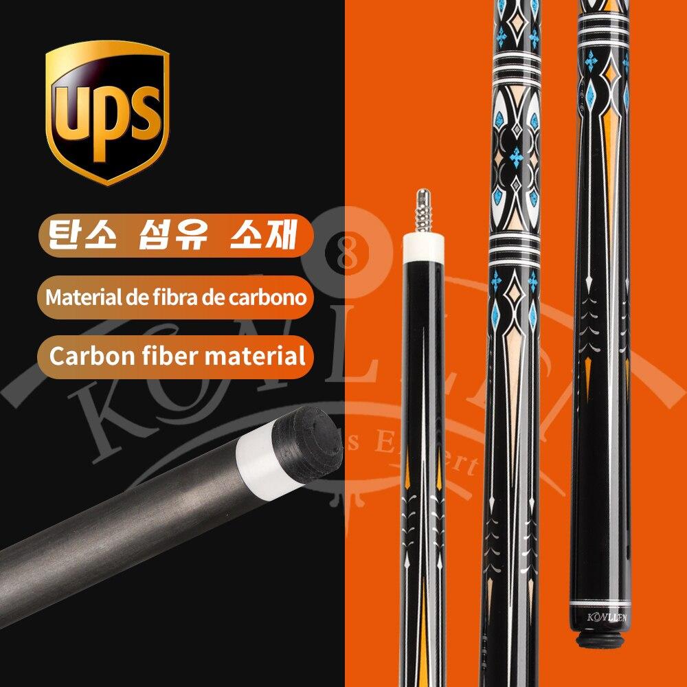 KONLLEN-Palo de billar de fibra de carbono, 3 cojines, tecnología coreana, eje de fibra de carbono, Kit12mm, 142cm
